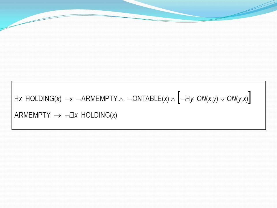 x HOLDING(x)  ARMEMPTY  ONTABLE(x)  [y ON(x,y)  ON(y,x)]